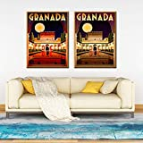 ZGZART Póster de Viaje de Alhambra Granada España e impresión de Arte de Pared Digital Lienzo Pintura imágenes Vintage decoración del hogar / 50x70cmx2 -sin Marco