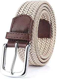 Sum-of-Best Men's Elastic Woven Belts High Stretch Braided Canvas Belt Square Metal Buckle
