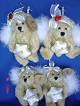 5.5 Inches Christmas Angel Fairy Teddy Bear Toy Ornament With Holiday Sentiment, 4 Pcs/set