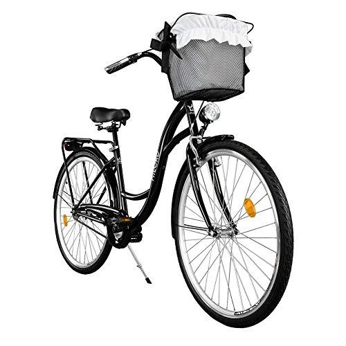Milord. Komfort Fahrrad mit Rückenträger, Hollandrad, Damenfahrrad, 3-Gang, Schwarz, 26 Zoll