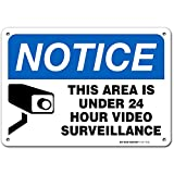 Warning Security Cameras in Use 24 Hour Video Surveillance Sign, Made Out of .040 Rust-Free Aluminum, Indoor/Outdoor Use, UV Protected and Fade-Resistant, 7' x 10', by My Sign Center