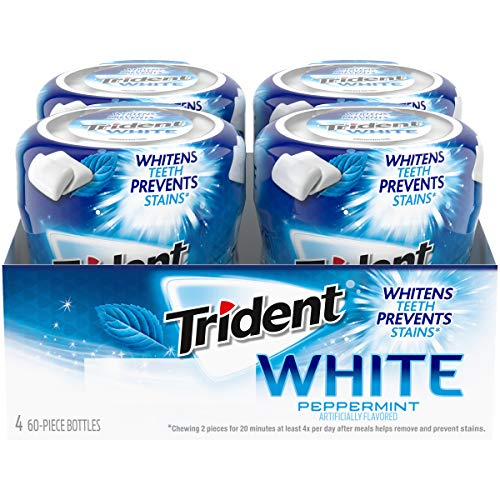 Trident White Peppermint Sugar Free Gum, 60 Piece Bottle - Pack of 4