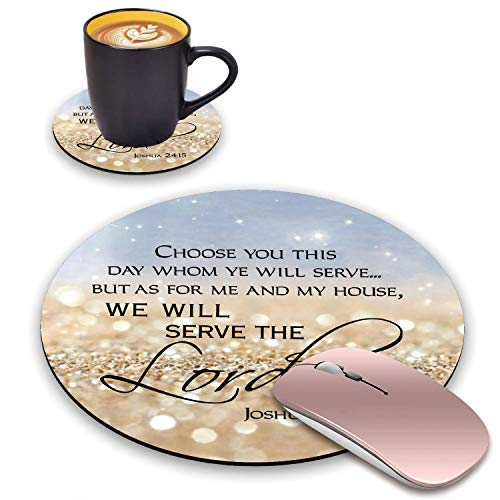 BWOOLL Round Mouse Pad and Coasters Set, Rainbow Glitter Mousepad, Inspirational Quote Christian Bible Verses Joshua 24:15 Mousepad, Non-Slip Rubber Base Mouse Pads for Laptop and Computer