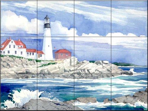 Keramik Fliesen - Portland Head Lighthouse - von Paul Brent - Küche Aufkantung Fliesen/Badverkleidung