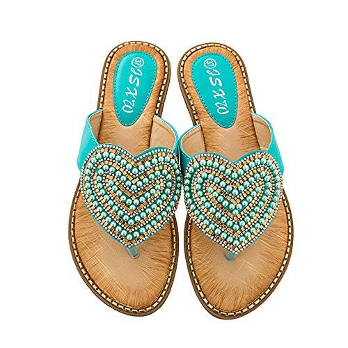 Shhyy Sandalias de mujer Wave Heart Flip-Flop-Women's Patent Tanga Sandal-String con piedras con joyas, F,40