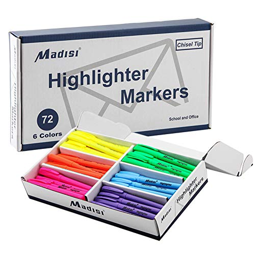 Madisi Highlighters, Chisel Tip, Assorted Colors, Bulk Pack, 72-Count