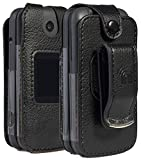 Alcatel Smartflip/Go Flip 3 Phone Case, Nakedcellphone [Black Vegan Leather] Form-Fit Cover with [Built-in Screen Protection] and [Metal Belt Clip] for Alcatel Go Flip 3, Alcatel Smartflip (2019)