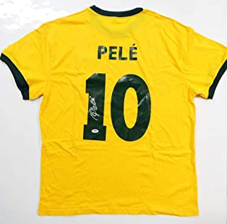 Pele Autographed Brazil CBD Yellow Soccer Jersey- PSA/DNA Auth Silver