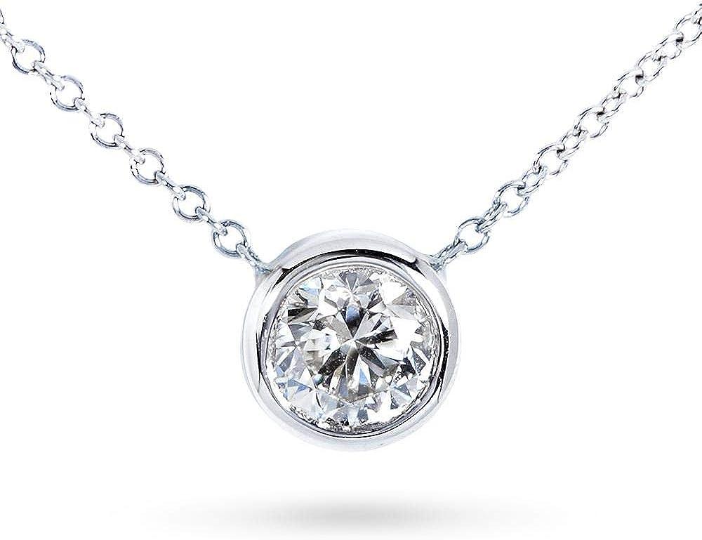 Kobelli Round Bezel Moissanite Solitaire Necklace 14K Gold 16