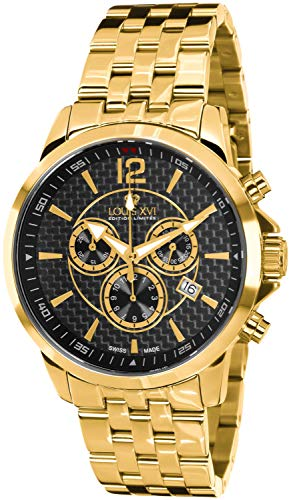 LOUIS XVI Herren-Armbanduhr Athos Stahlband Gold Schwarz Karbon Chronograph Analog Quarz Edelstahl 800