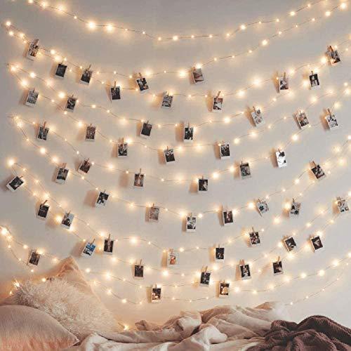 7-Mi LED Koperdraad String Lights Fairy String Lights 8 Modi LED String Lights USB Aangedreven met afstandsbediening voor Bruiloft Party Thuis Kerstversiering, Warm Wit