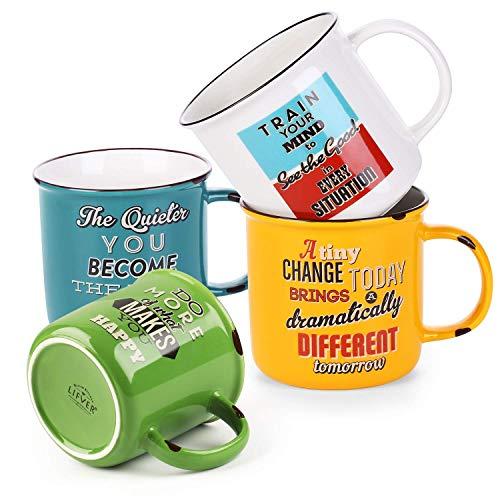 LIFVER Taza de café de 530 ml, juego de tazas, juego de tazas de café de porcelana, juego de tazas de café grande de cerámica, tazas de té, aptas para lavavajillas y microondas, regalos, paquete de 4