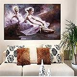Peinture à l'huile peinte à la Main Sur Toile, Portrait peinture Ballet Danse Ballerine Palette Grand Couteau Pop Art Mural galerie Chambre Salon décoration murale-150_ × _200cm