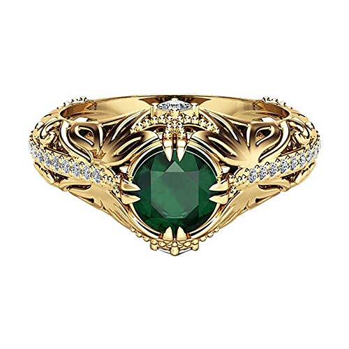 Cremación Memorial Abuela Anillo de diamantes de circón verde Compromiso / Boda Joyería glamorosa Día de San Valentín Tamaño de la joyería S (Oro # 2), Nombre del tamaño: M, Nombre del color: Oro # 5