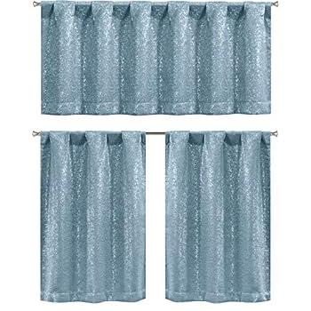Elegant Linens 3 PC Metallic Sparkle Chic Blackout Room Darkening Kitchen Curtain Tier & Valance Set - Assorted Colors  Slate Blue