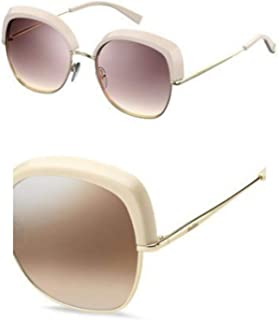 Max Mara Women's MM Needle V NQ 84A 56 Sunglasses, Beige Gold/BW Brown