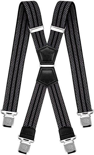 Decalen Hosenträger für Herren Breit 4 cm mit sehr Starken 4 Metall Clip Lang Einheitsgröße für Männer und Damen Einstellbar und Elastisch X Style (Grau Schwarz)