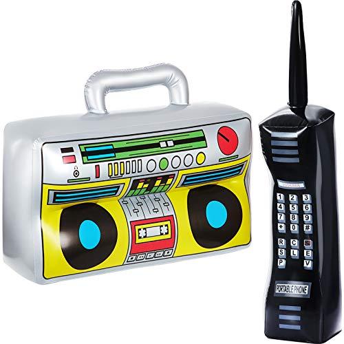 Gejoy 2 Stücke Aufblasbare Radio Boombox Aufblasbare Handy Requisiten für 80er 90er Party Dekorationen