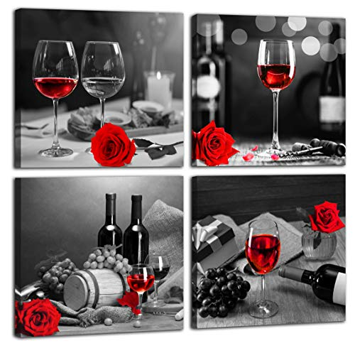 aburaeart Kitchen Wall-Art - Wine Decor for Kitchen,Black and White Wall Art - Modern Wall Art for Living Room - Red Rose Artwork Gray Cask 4 Framed Canvas Art 14x14 Inches