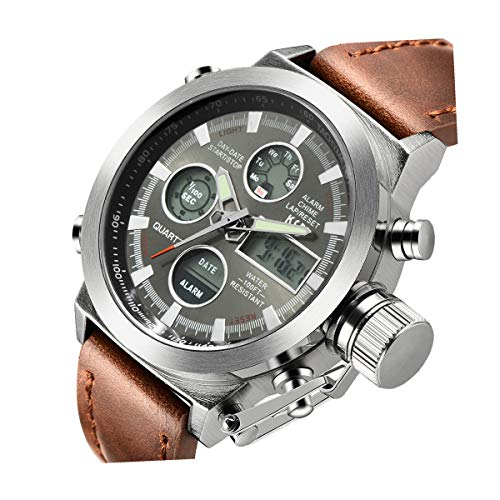 Reloj analógico de cuarzo, para hombre, con correa de piel