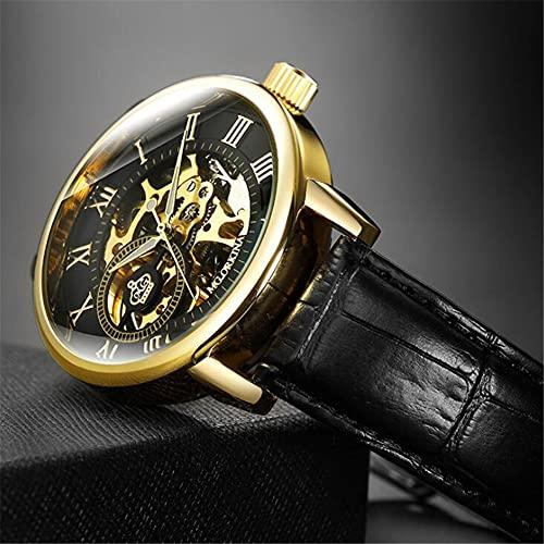 Correa de Cuero de Reloj de Hombre, Reloj de Alta Gama Impermeable Hueco automático Reloj mecánico,Negro