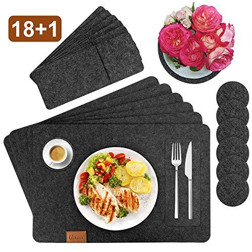 Gifort Platzset, Filz Tischset 6er Set mit Glasuntersetzer und Bestecktaschen, Waschbare Tischuntersetzer Platzdeckchen, Abwischbar Untersetzer Filzmatte