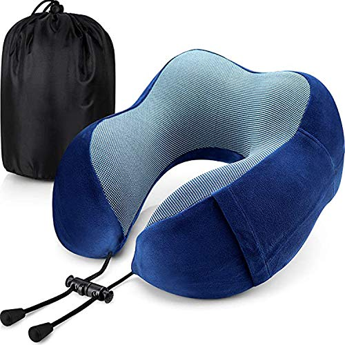 Murosn-Travel Pillow, Neck Pillow Memory Foam Neck Pillow Neck Cushion Kit,Comfortable Portable Neck Head Support Cushion Soft for Sleeping on Airplane,Car,Train with Carrying Bag (Dark Blue)