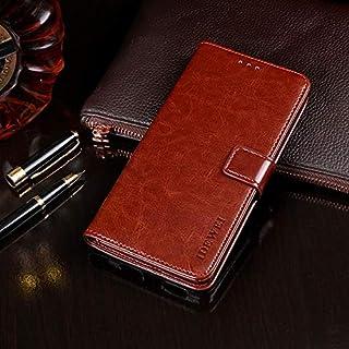 DTJC Vivo S5クレイジーホーステクスチャ水平フリップレザーケースホルダー&カードスロット&財布 (Color : Brown)