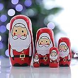 WFRAU Weihnachten Deko Christmas Weihnachtsmann Drucken Russische Matroschka Hölzerne Puppe...