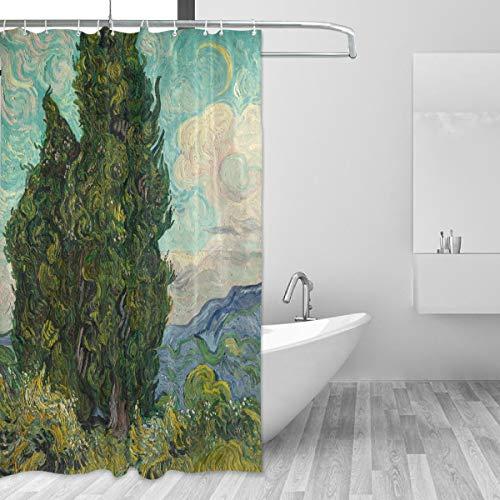 Ahomy Duschvorhang, Van Gogh, Ölgemälde, Zypressen, Sternenhimmel, Kunstdruck, schimmelresistenter Polyesterstoff, Badezimmervorhang mit 12 Haken, 150 x 180 cm