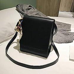 Women's Solid Color Flip Bag Pu Leather Small Size Briefcase Strap Adjustable with Scarf Messenger Bag Magnetic Buckle Design Shoulder Bag Simple Ladies Crossbody Bag (Black)