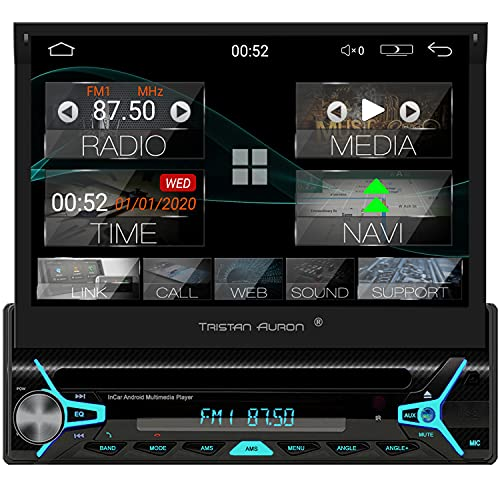 Tristan Auron BT1D7022A Android 10.0 Autoradio I 7\'\' Touchscreen ausfahrbar I CD DVD GPS Navi 32GB Bluetooth Freisprecheinrichtung I USB SD OBD DAB Plus I 1 DIN