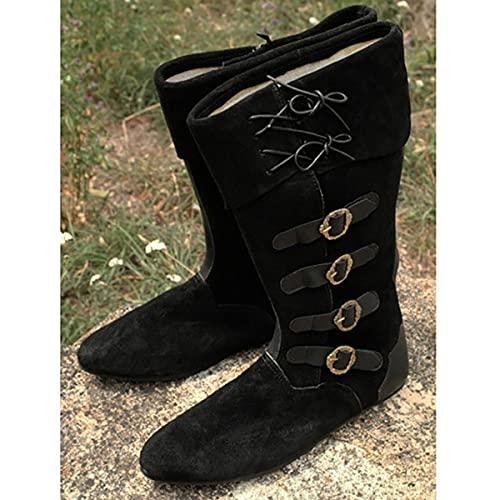 Bnjghcug Médiéval Cosplay Daim Cuir Bottes Courtes Rétro Chevalier Prince Bottes Elfe Bandage Goth Chaussures Hommes Gothique Steampunk Femmes Princesse Chaussures,Noir,48