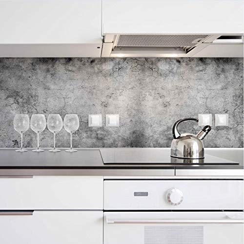 Deco Italia Paraschizzi Adesivo Cemento Grigio per Retro fornelli Cucina – Pannello Schienale ignifugo Autoadesivo   260 x 45 cm