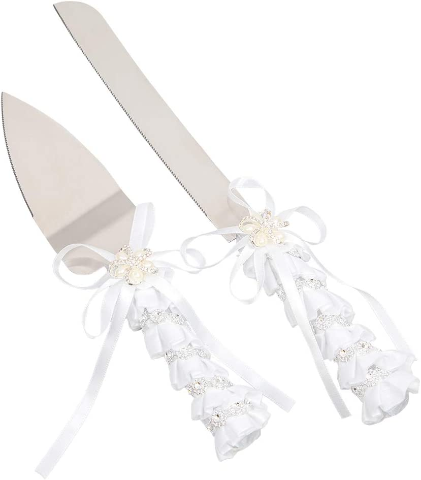 Elegant Wedding Cake Knife and Ca Ranking TOP1 low-pricing Set Flower Server with
