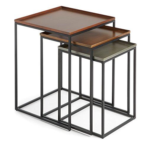 Kave Home - Set de 3 mesas auxiliares Vinker Rectangular 41 x 41/36 x 36/31 x 31 cm de Acero con sobre en Zinc, Cobre y latón y Patas de Acero en Negro