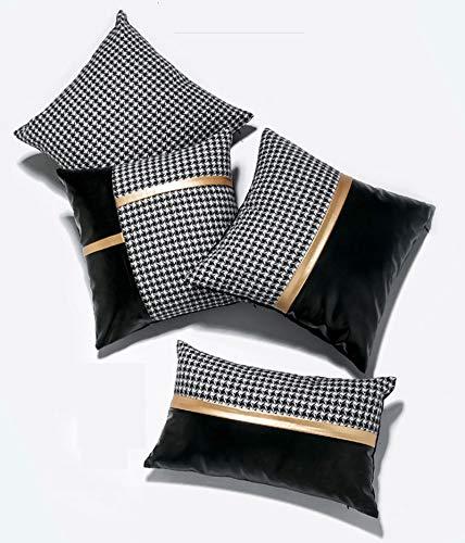EHDFS 4 piezas de funda de almohada tradicional de pata de gallo con piel sintética decorativa cuadrada para cojín para sofá de casa de campo, cama, almohada de coche