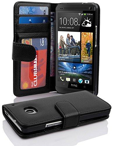 Cadorabo Hülle für HTC ONE M7 (1. Gen.) - Hülle in Oxid SCHWARZ – Handyhülle mit 3 Kartenfächern - Case Cover Schutzhülle Etui Tasche Book Klapp Style