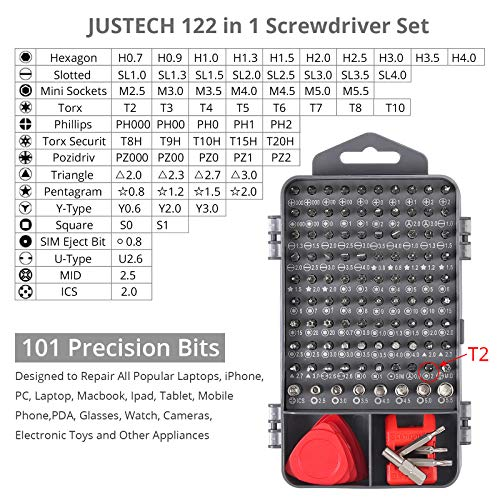 122 in 1 Precision Screwdriver Set Justech Magnetic Driver Kit Professional Electronics Repair Tool Kit for Repairing PC MacBook Pad Laptop Watch Glasses Smartphone