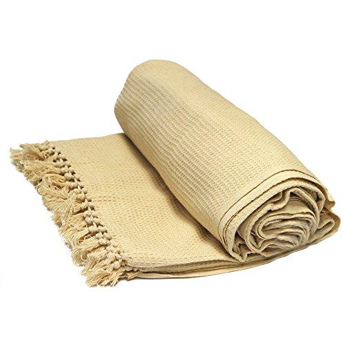 Just Contempo Überwurf/Tagesdecke, aus 100prozent Baumwolle, mit Wabenstruktur, extragroß, 100prozent Baumwolle, Beige (Natural) (Thick Heavy Next), Double 90