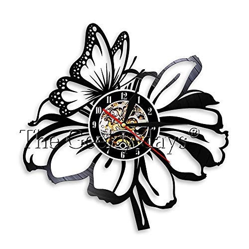 1 Pieza de Flores Moderno Reloj de Pared con Disco de Vinilo...