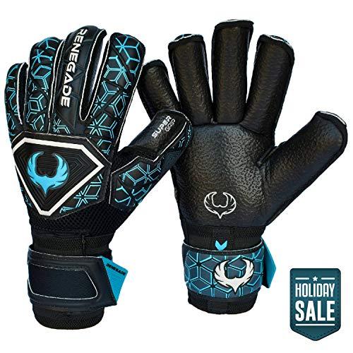 Renegade GK Triton Specter Roll Cut Level 2 Youth & Adult Goalie Gloves with Pro-Tek Fingersaves - Goalkeeper Gloves Size 8 - GK Gloves - Goalie Gloves Size 8 - Black & Blue