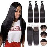 Alidiamond Brazilian Straight Human Hair Bundles with Closure (22 24 26+20 Inch) Free Part, 8A Unprocessed Natural Black Straight Virgin Hair Bundles with 4×4 Lace Closure.