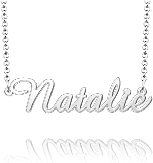 Q&Locket Personalized Custom Name Necklace 925 Sterling Silver Classic Script Initial Nameplate Necklaces Gifts for Girls Womens