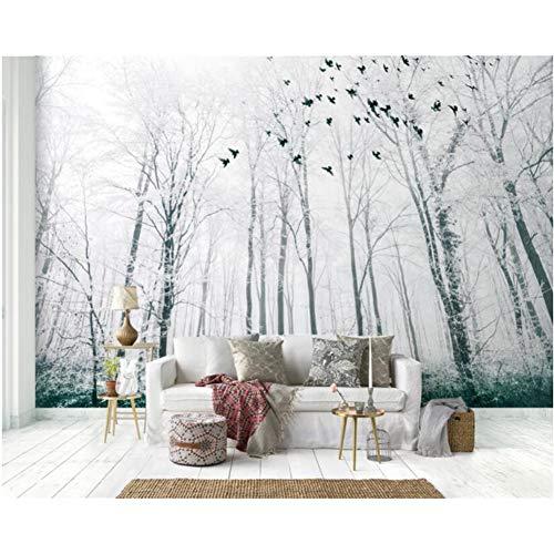 Benutzerdefinierte Foto-Wandtapete Schwarzweiss-große Baum-Schneeszene-Waldvogel-Hintergrund-Wand-3d-Tapete 280X200cm