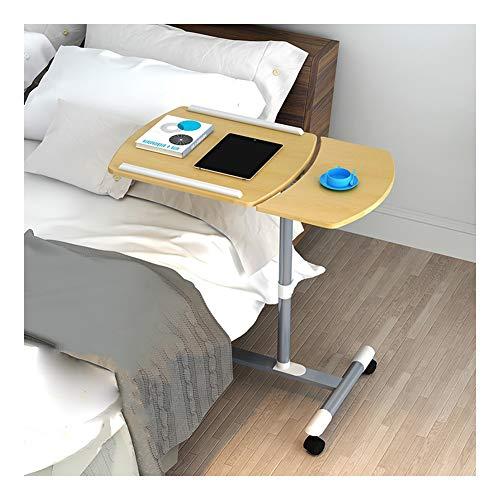 Mobile Lap Table Mobile Laptop Desk, Reversible, Laptop Table With Wheels, For Bed Sofa (Color : Wood color, Size : 60x40x(58-88) cm)
