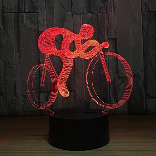 jiushixw 3D acryl nachtlampje met afstandsbediening van kleur veranderende lampen fiets gevoel hologram geschenken voor sportfans klaptafel lampen