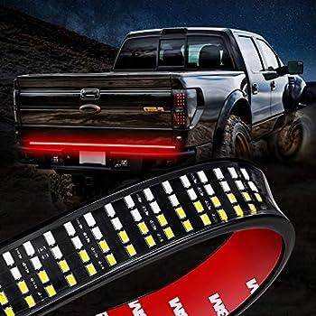 Niking Auto 60 Inch LED Truck Tailgate Light Strip Quad Row Bed Tail Light Bar Waterproof 5 Function Red Brake White Backup Reverse Red Turn Signal Strobe Light for Pickup SUV RV Van Dodge Ram