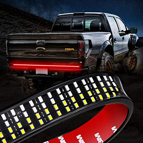 Niking Auto 60 Inch LED Truck Tailgate Light Strip Quad Row Bed Tail Light Bar Waterproof 5 Function Red Brake, White Backup Reverse, Red Turn Signal Strobe Light for Pickup SUV RV Van Dodge Ram