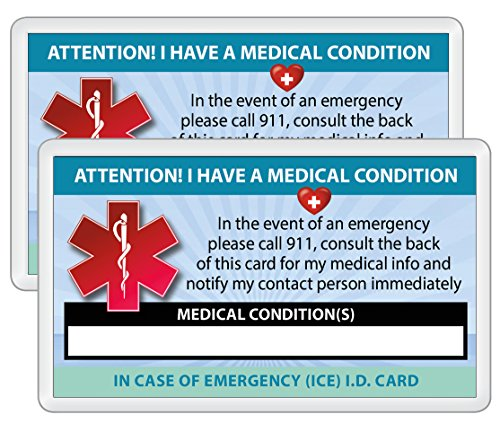 For Sale! Medical Condition ICE Alert in Case of Emergency I.D. Identification Wallet Card Heavyweig...